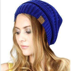 C.C blue knit beanie cap hat